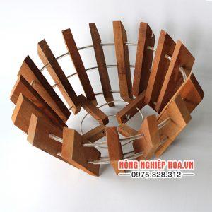 Chậu gỗ trồng lan đường kính 27cm CG02