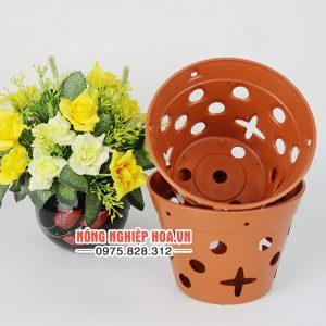 Chậu nhựa trồng lan giả gốm đường kính 17cm CN13