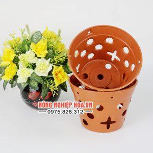 Chậu nhựa trồng lan giả gốm đường kính 14.5cm CN12